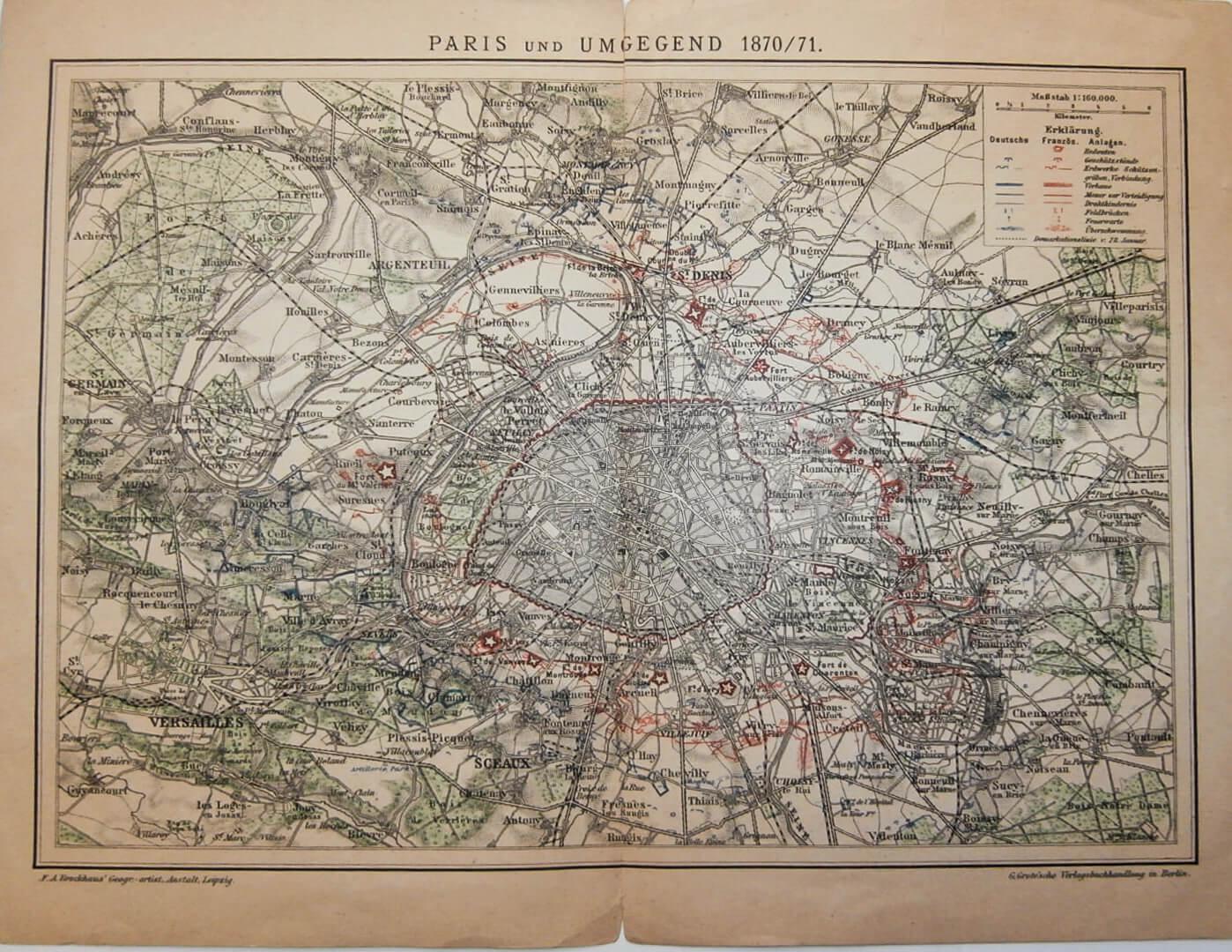 Párizs térkép 1870-71 régi