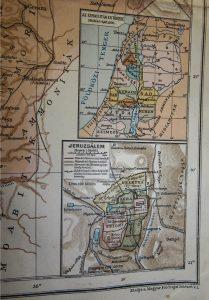 Palesztina térkép Izraelita XII törzs térképpel 1920-as évek