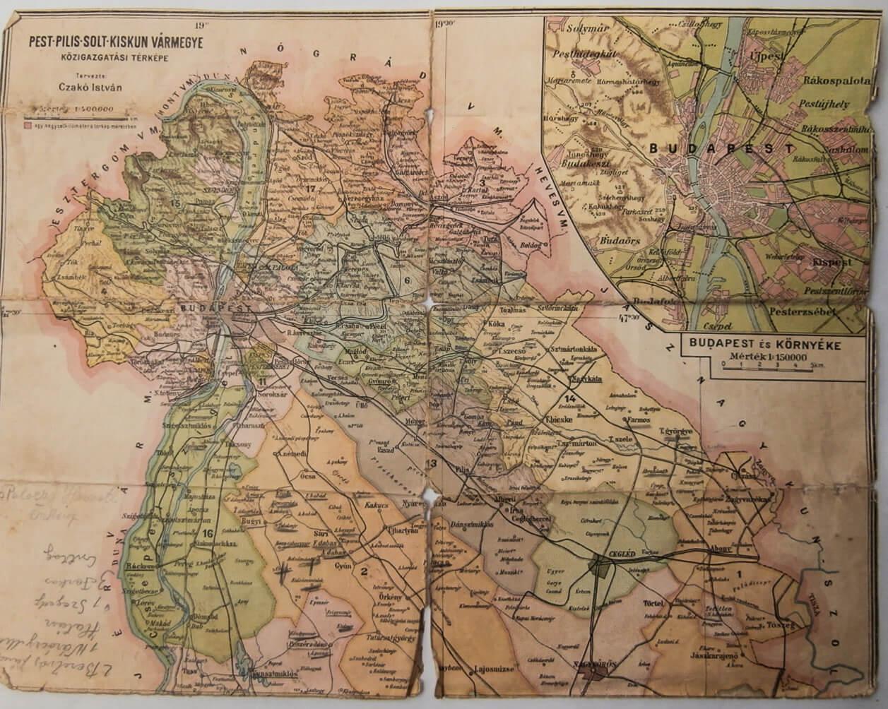 Pest-Pilis- Solt- Kiskun Vármegye térkép