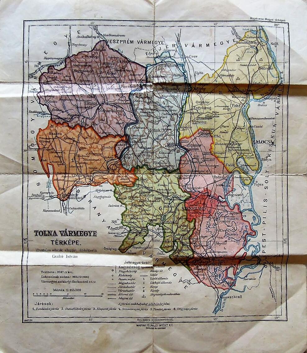 Tolna Vármegye Térkép 1927
