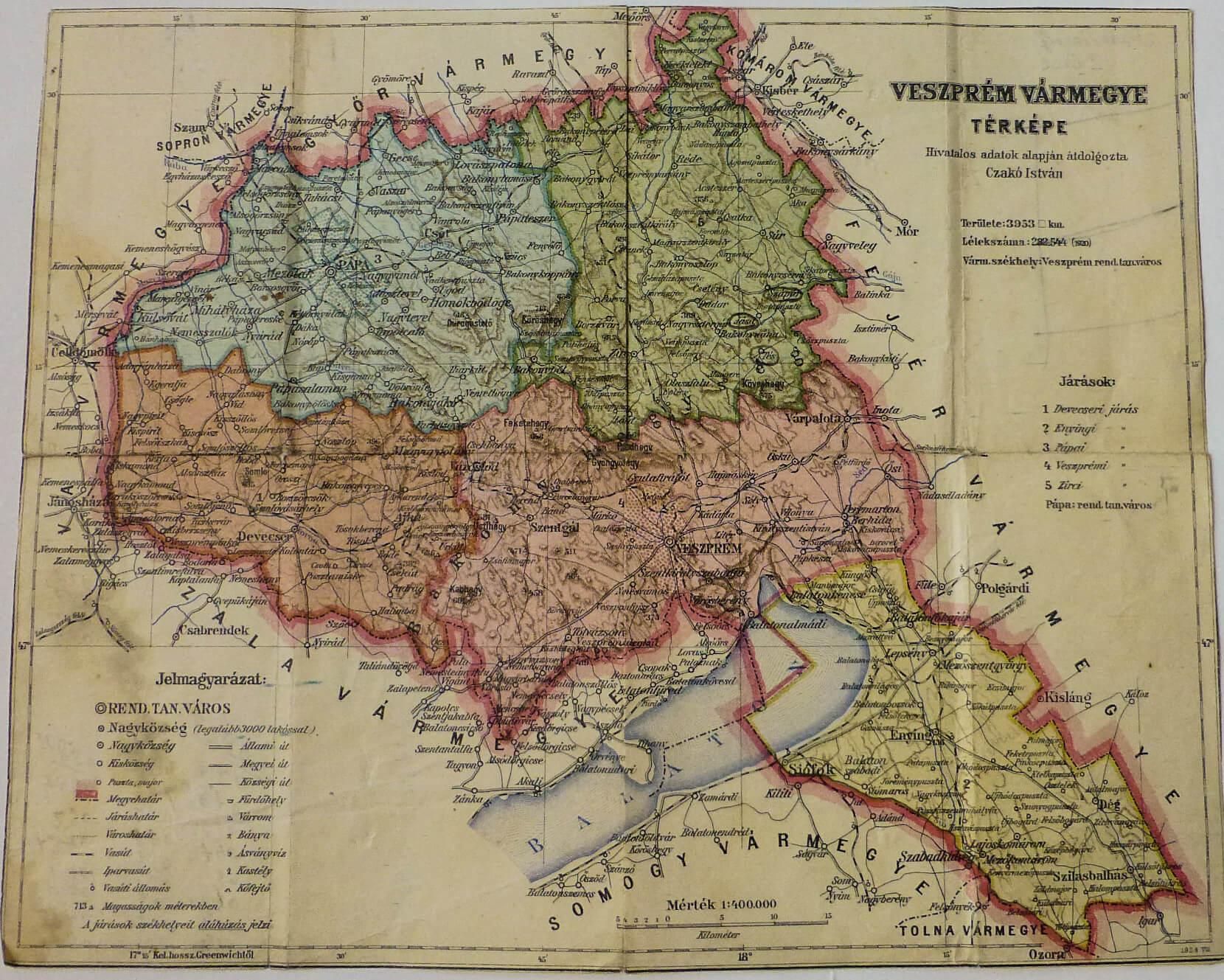 Veszprém Vármegye térkép 1928