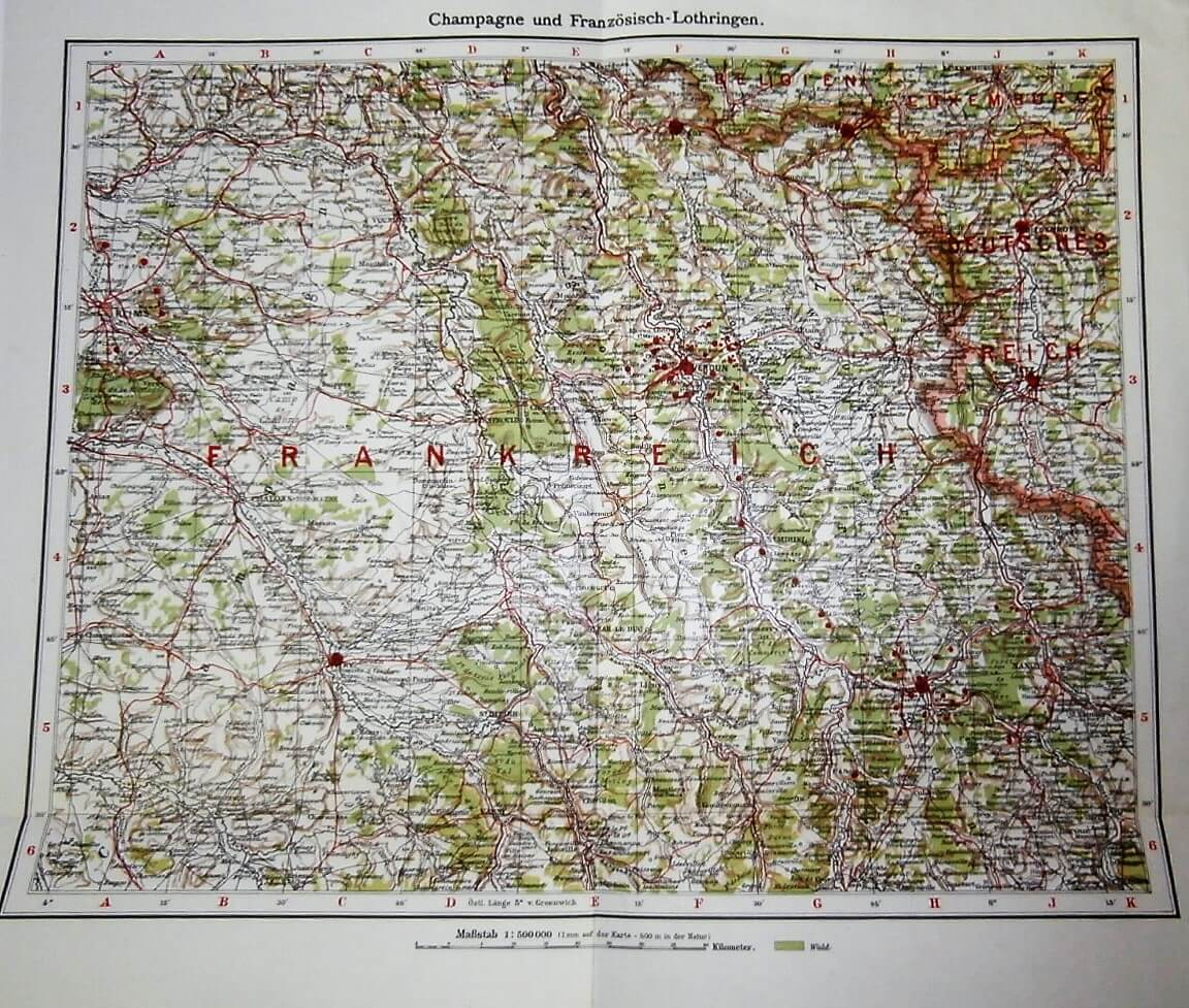 Champagne és Francia Lotaringia térkép 1937