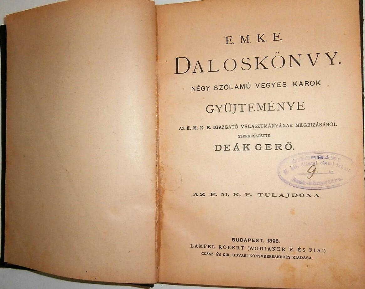 EMKE Daloskönyv 1896
