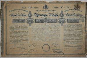 Magyar Jelzálog Hitelbank Nyeremény Kötvény 1881