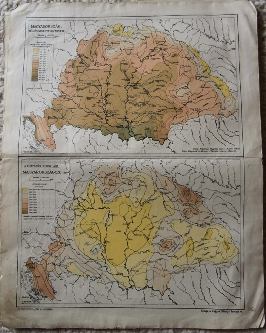 Magyaroszág Hőmérsekleti Csapadék térkép 1900 as évek