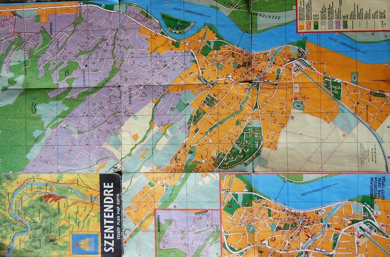 Szentendre régi térkép 1988 várostörténettel