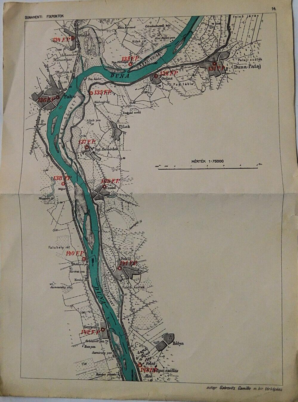 Dunamenti Fixpontok régi térkép