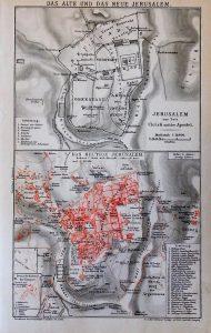Jeruzsálem térkép 1894 Brockhaus Konversations Lexikon 14. kiadás Leipzig
