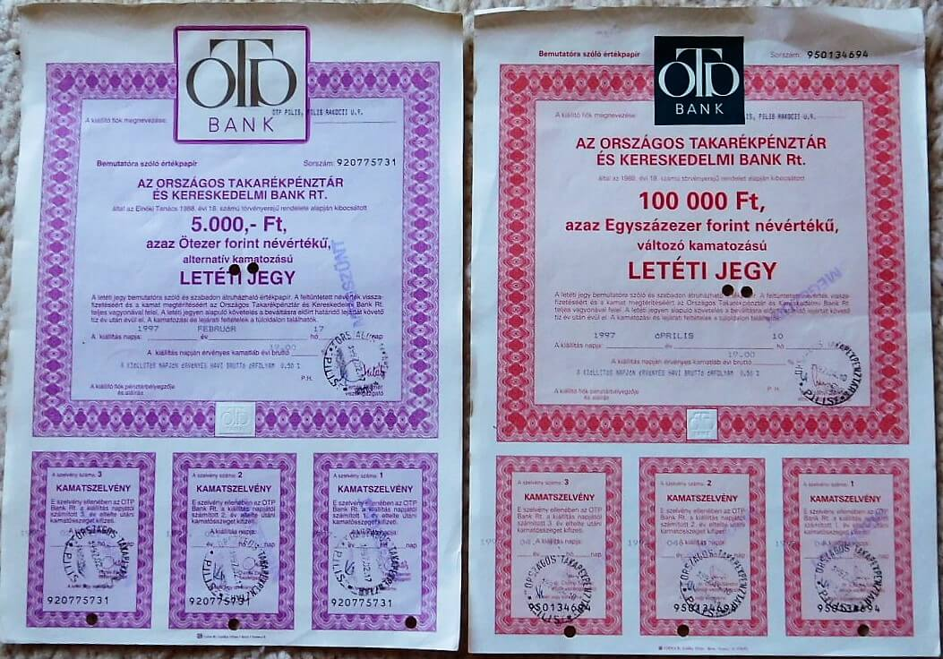 OTP Letéti Jegy 1997