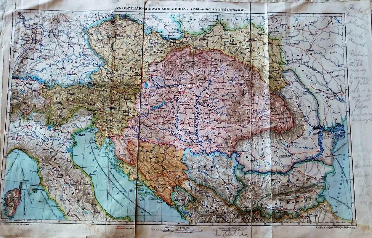 Osztrák Magyar Monarchia politikai közlekedési térkép 1900