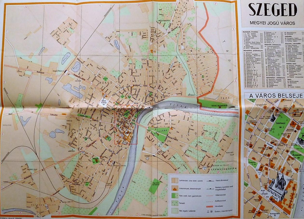 Szeged  város régi  térkép 1958