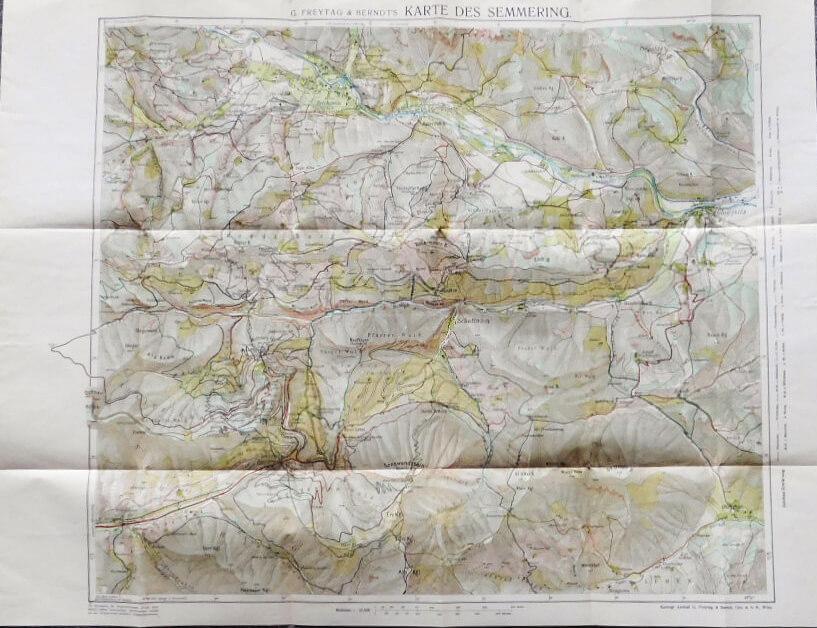 Semmering és környéke Ausztria régi térkép