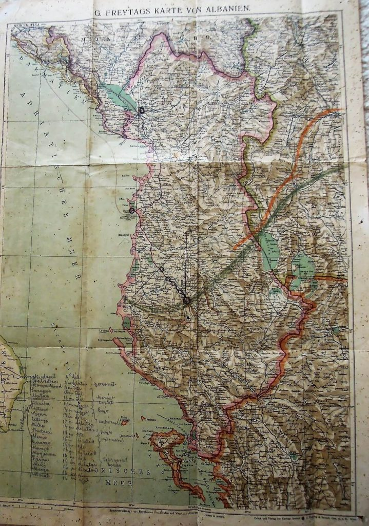 Albánia régi térkép cca 1928