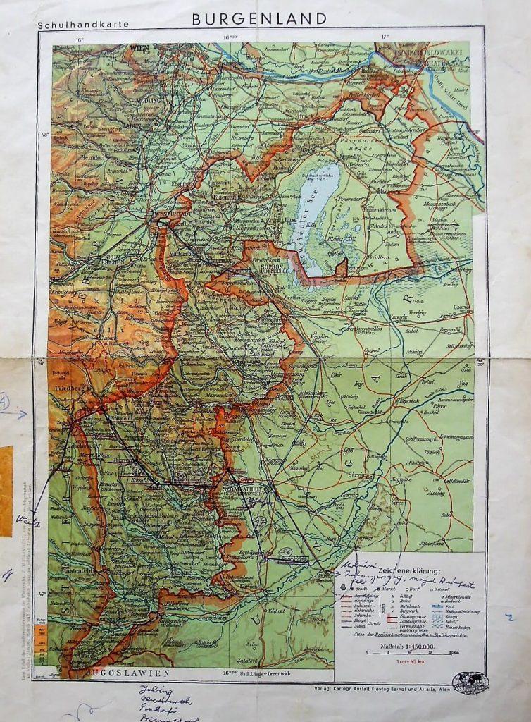 Burgenland Schulhandkarte régi térkép