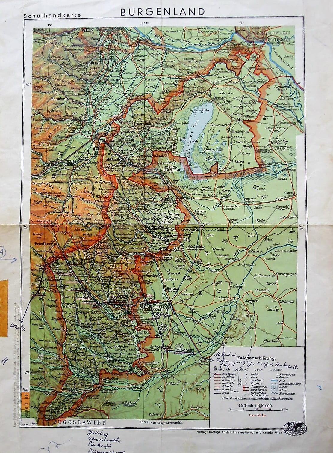 Burgenland Schulhandkarte régi térkép Ausztria