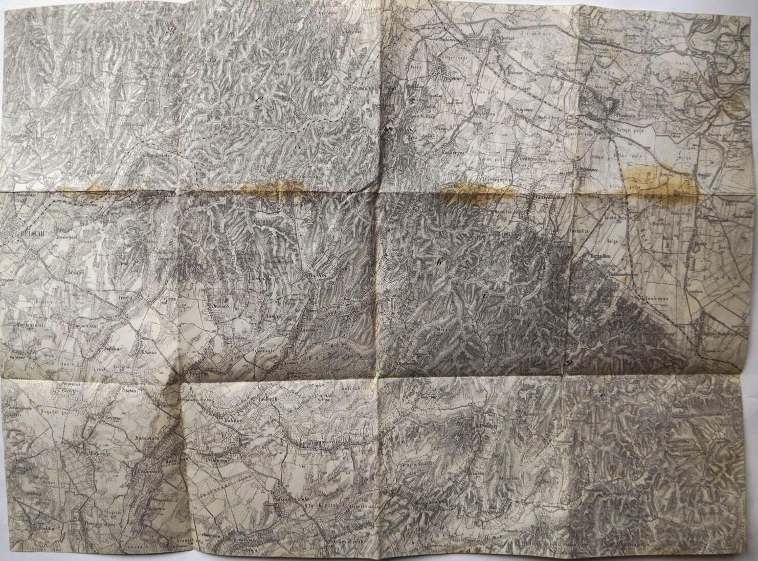 Bjelovar és környéke Horvátország katonai térkép 1930-as évek