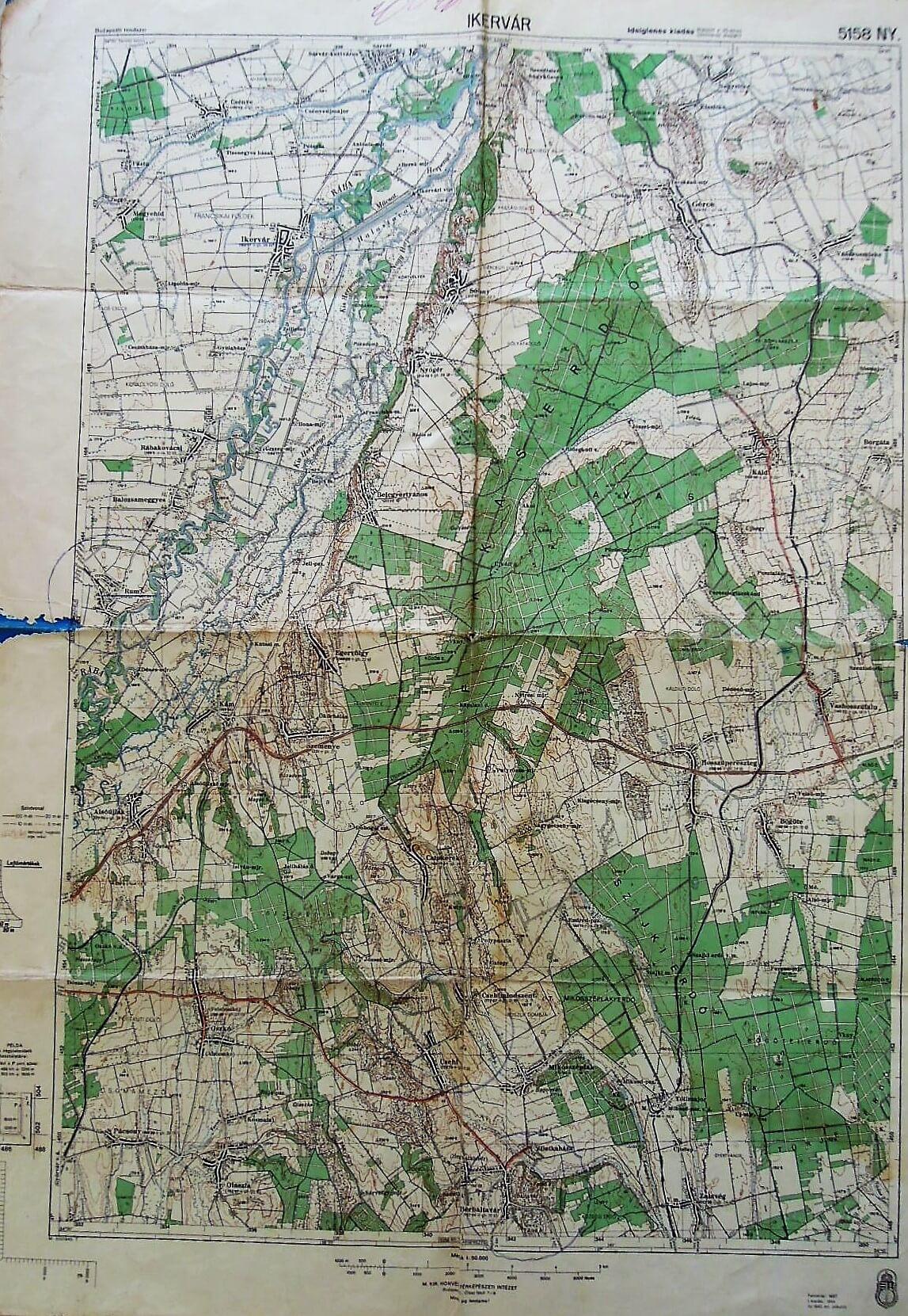 Sárvár Ikervár Vasvár környéke régi térkép 1944