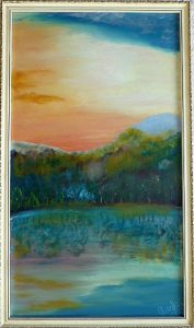 Balatoni naplemente festmény dr. Pusztai Géza