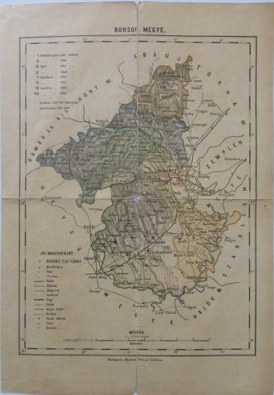 Borsod Megye régi térkép 1900-as évek