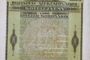 Budapest Székesfőváros kölcsön 1920 1000 korona