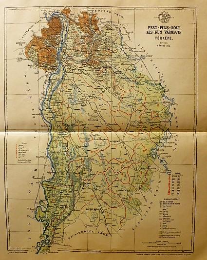 Pest-Pilis-Solt-Kis-Kun Vármegye Térkép 1896
