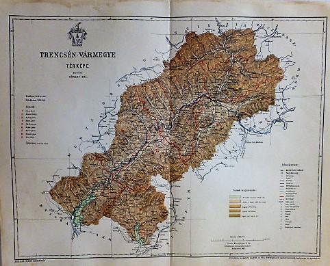 Trencsén Vármegye Térkép 1897