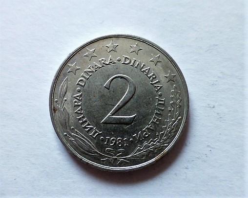 2 Dinár Jugoszlávia 1981 fémpénz
