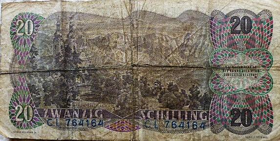 20 Schilling 1956 Ausztria papírpénz