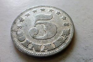5 Dinár 1953 fémpénz Jugoszlávia