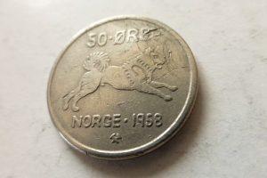 50 Öre fémpénz 1958 Norvégia