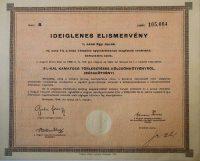 Búzakötvény Ideiglenes Elismervény 1946