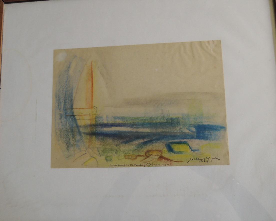 Mikus Gyula Balatoni vitorlás 1967 festmény grafika pasztel