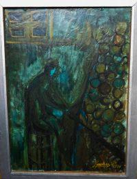 Kovács Zongoránál zöldben 1970 festmény