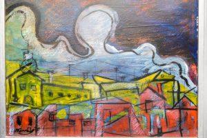 Szellem a város felett festmény Kováts F jelzéssel