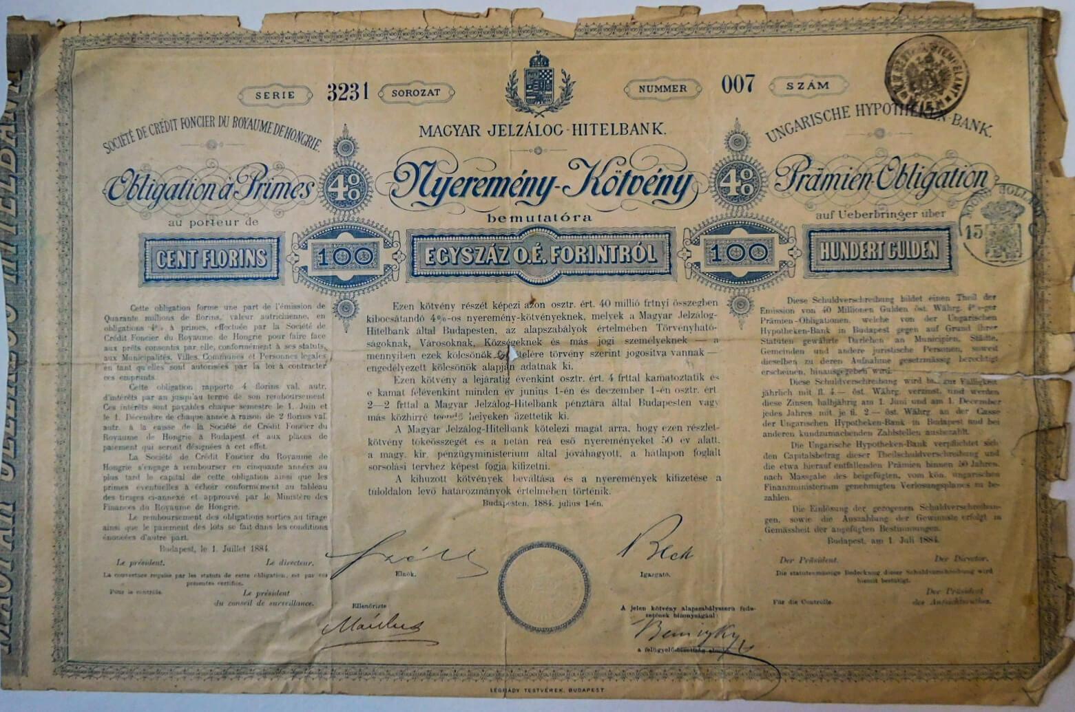 Magyar Jelzálog Hitelbank Nyeremény kötvény 1884