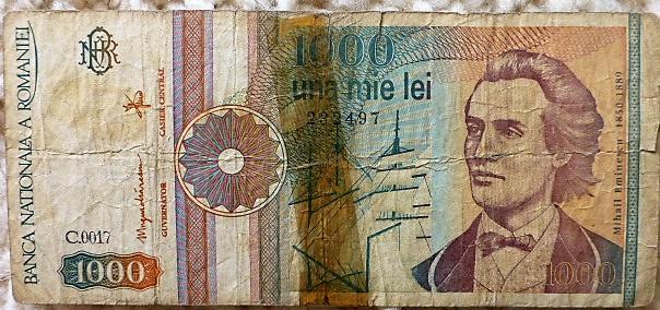 1000 Lei Una Mie Lei 1991 Románia papírpénz