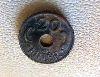 20 Fillér lyukas fémpénz 1941 Magyar Királyság