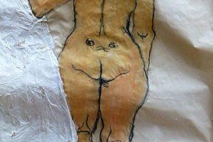 Akt mosolygós háttal festmény grafika vegyes technika papír