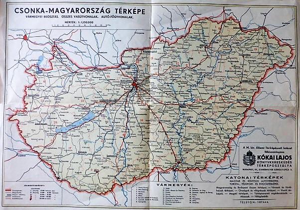 Csonka Magyarorszag Terkep Varmegye Vasut Auto Oregpenz