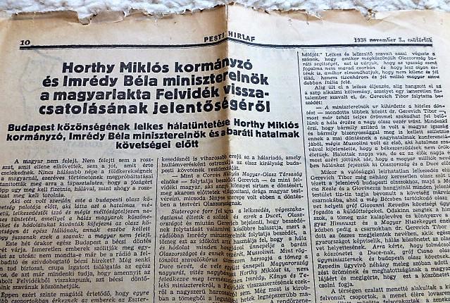 Magyarország I. Bécsi Döntés után Pesti Hírlap