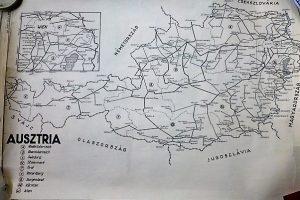 Ausztria vasúti térkép 1949
