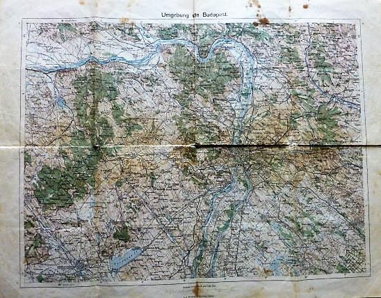 Budapest és környéke katonai térkép 1914