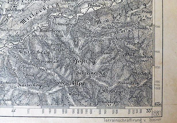 Eisenerz Wildalpe  Aflenz Hochschwab Ausztria térkép 1880