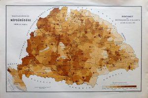 Magyarország népsűrüsége 1890 térkép