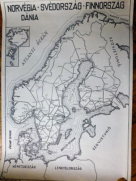 Norvégia Svédország Finnország Dánia vasút térkép 1949