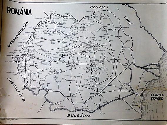 Románia vasút térkép 1949