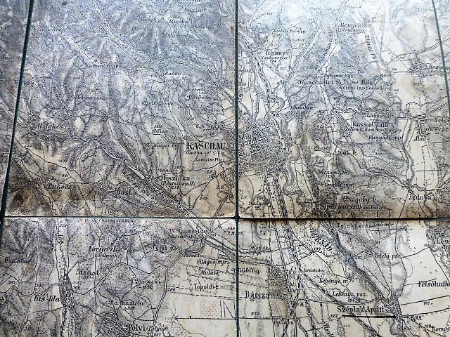 Kassa környéke Felvidék térkép 1900-as évek