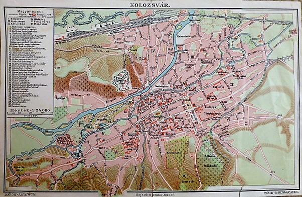 Kolozsvár térkép 1896 Révai Lexikon