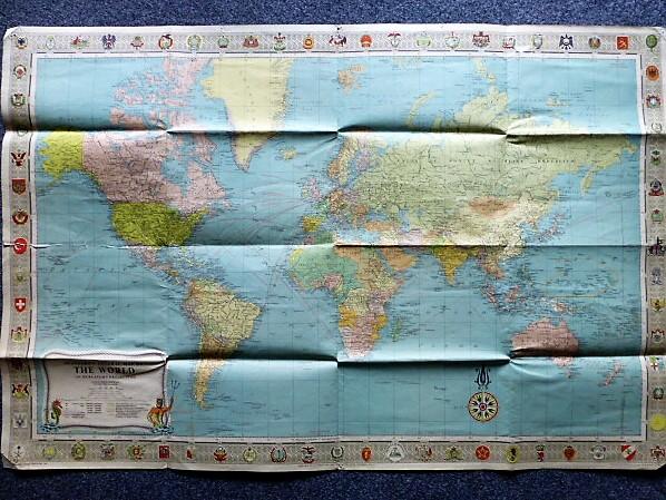 Stanford's General Map of the World világtérkép 1957