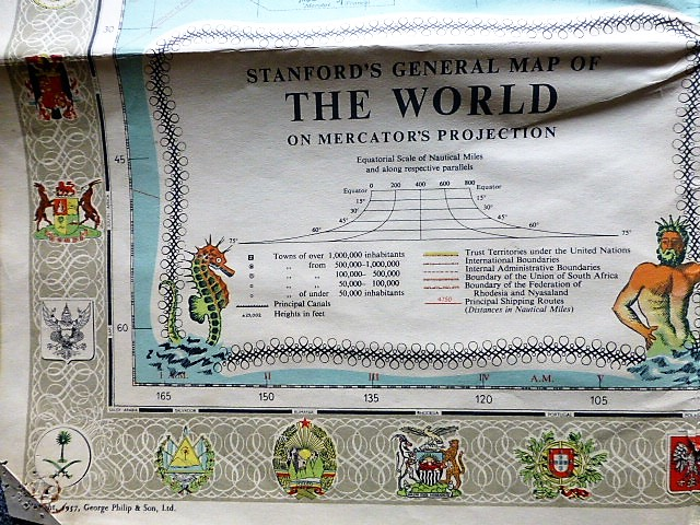 Stanford's General Map of the World világatlasz 1957